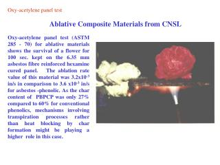 Ablative Composite Materials from CNSL