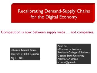 Recalibrating Demand-Supply Chains  for the Digital Economy