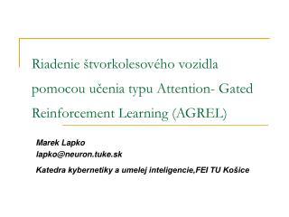 Marek Lapko lapko@neuron.tuke.sk Katedra kybernetiky a umelej inteligencie,FEI TU Košice
