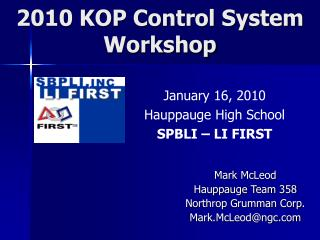 2010 KOP Control System Workshop
