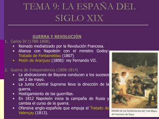 TEMA 9: LA ESPA�A DEL SIGLO XIX