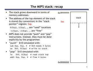 The MIPS stack: recap