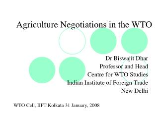 Agriculture Negotiations in the WTO