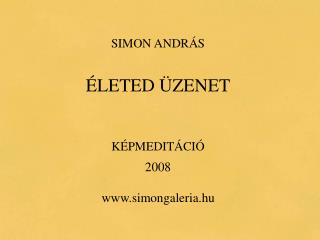 SIMON ANDRÁS ÉLETED ÜZENET KÉPMEDITÁCIÓ 2008 simongaleria.hu
