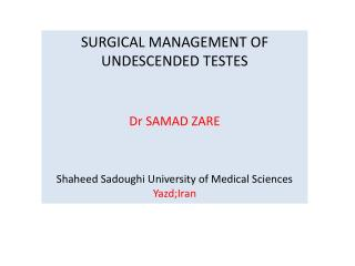 SURGICAL MANAGEMENT OF UNDESCENDED TESTES Dr SAMAD ZARE