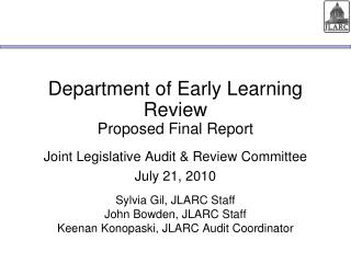 Department of Early Learning Review Proposed Final Report
