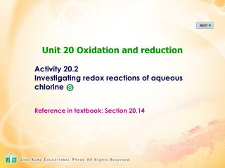 Activity 20.2 Investigating redox reactions of aqueous  chlorine