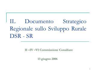IL Documento Strategico Regionale sullo Sviluppo Rurale DSR - SR