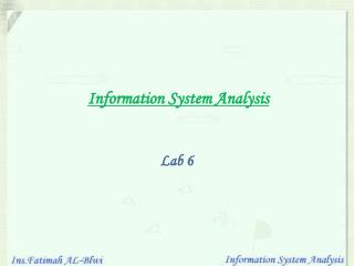 Information System Analysis Lab 6