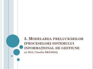 5 .  Modelarea prelucr ărilor  (proceselor) sistemului informaţional de gestiune