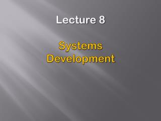 Lecture 8 Systems Development