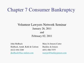 Chapter 7 Consumer Bankruptcy