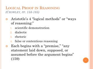 Logical Proof in Reasoning (Crowley, pp. 158-185)