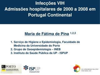 Infecções VIH  Admissões hospitalares de 2000 a 2008 em Portugal Continental
