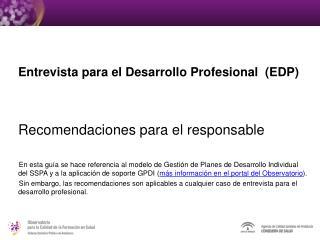 Entrevista para el Desarrollo Profesional  (EDP) Recomendaciones para el responsable