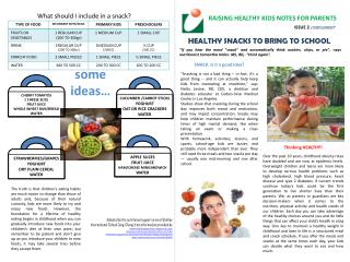 RAISING HEALTHY  KIDS  NOTES FOR PARENTS