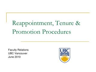 Reappointment, Tenure  Promotion Procedures
