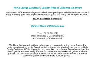 NCAA College Basketball : Gardner-Webb at Oklahoma live stre