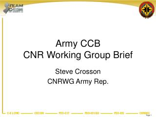 Army CCB CNR Working Group Brief
