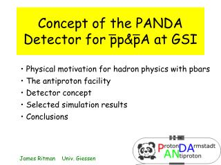 Concept of the PANDA Detector for pp&pA at GSI
