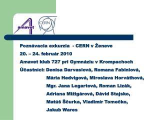 Pozn�vacia exkurzia  - CERN v �eneve 20. � 24. febru�r 2010