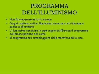 PROGRAMMA DELL'ILLUMINISMO