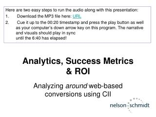 Analytics, Success Metrics  & ROI