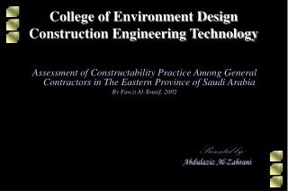 College of Environment Design Construction Engineering Technology