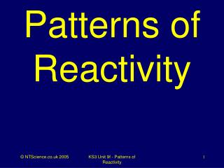 Patterns of Reactivity
