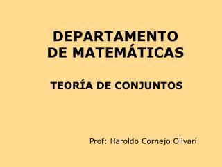 DEPARTAMENTO DE MATEM�TICAS