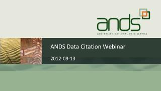 ANDS Data Citation Webinar
