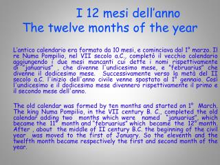 I 12 mesi dell'anno The twelve months of the year
