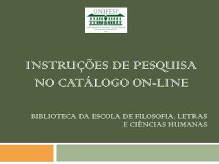instruções de pesquisa no Catálogo on-line