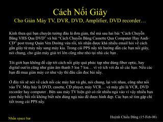 Cách Nối Giây Cho Giàn Máy TV, DVR, DVD, Amplifier, DVD recorder…