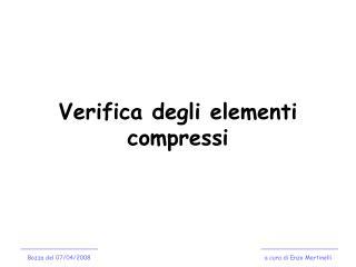 Verifica degli elementi compressi