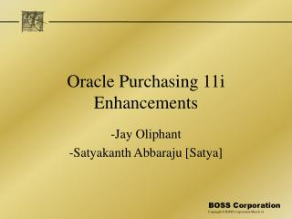 Oracle Purchasing 11i Enhancements