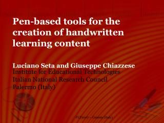 Pen-based tools for the creation of handwritten learning content