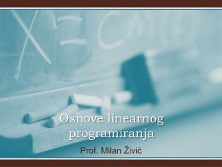 Osnove linearnog programiranja
