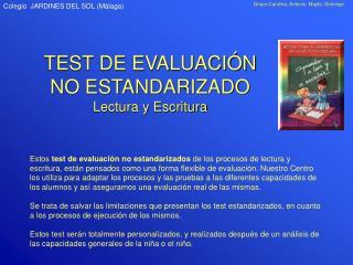 TEST DE EVALUACIÓN NO ESTANDARIZADO Lectura y Escritura