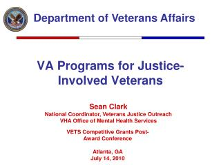 VA Programs for Justice-Involved Veterans