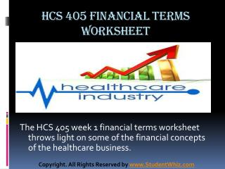 HCS 405 Week 1 Health Care Financial Terms Worksheet Paper