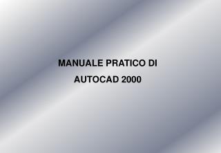 MANUALE PRATICO DI AUTOCAD 2000