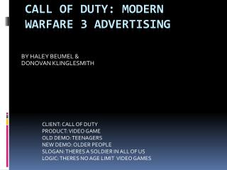 CALL OF DUTY: MODERN WARFARE 3 ADVERTISING