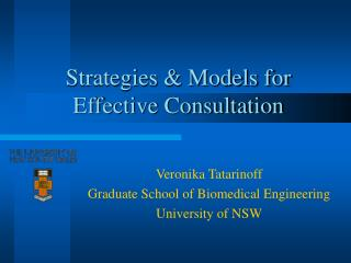 Strategies & Models for  Effective Consultation