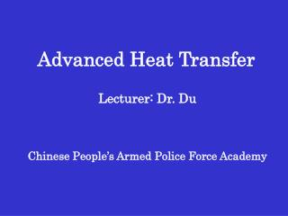 Advanced Heat Transfer