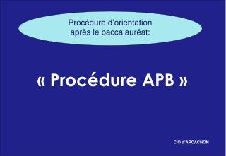 � �Proc�dure APB ��