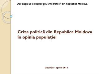 Criza politică din Republica Moldova în opinia populaţiei