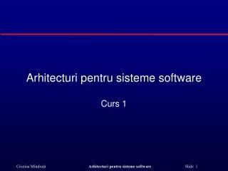 Arhitecturi pentru sisteme soft w are