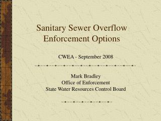 Sanitary Sewer Overflow Enforcement Options