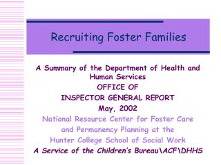 Recruiting Foster Families